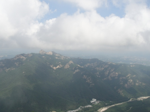 The park, Sokcho, and the East Sea, as viewed from the top of the tram